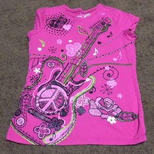 Girls sz 10 pink guitar tshirt Childrens Place
